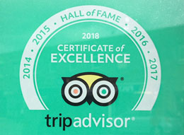 Trip Advisor Certificate of Excellence now FIVE years ina row including 2018